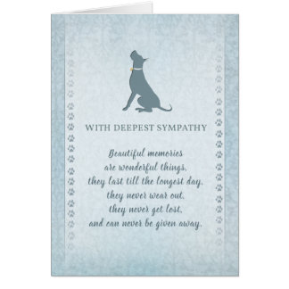 Great Dane Dog Sympathy Beautiful Memories Card