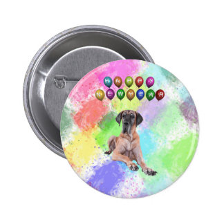 Great Dane Dog Wishing Happy New Year Button