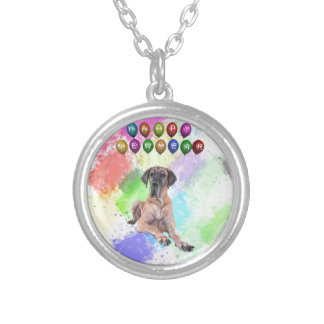 Great Dane Dog Wishing Happy New Year Silver Plated Necklace
