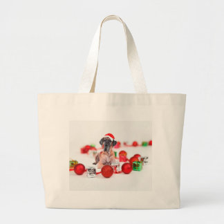 Great Dane Dog with Christmas Ornaments Gifts Large Tote Bag