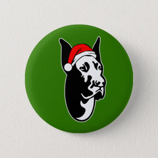 Great Dane Dog with Christmas Santa Hat Button