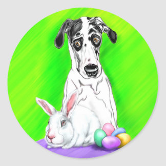Great Dane Easter RABBITS?! Round Stickers