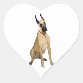 Great dane - el cervatillo sienta 1 pegatina corazón personalizadas
