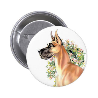 Great Dane Fawn Floral Button