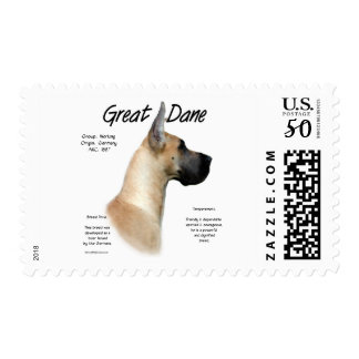 Great Dane (fawn) History Design Postage