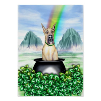 Great Dane Fawn Pot O Gold Poster