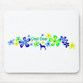 Great Dane Flowers Mouse Pads