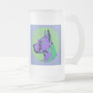 Great Dane Frosted Glass Beer Mug