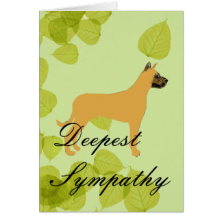 Great Dane - Green Leaf Design Greeting Card