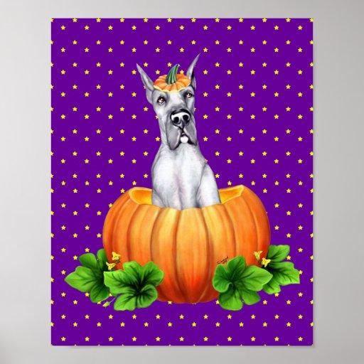 Great Dane Halloween Blue Dane-O-Lantern Poster