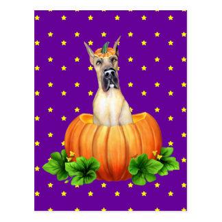Great Dane Halloween Fawn Dane-O-Lantern Postcard