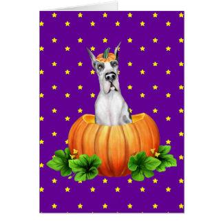Great Dane Halloween Harlequin Dane-O-Lantern Greeting Card