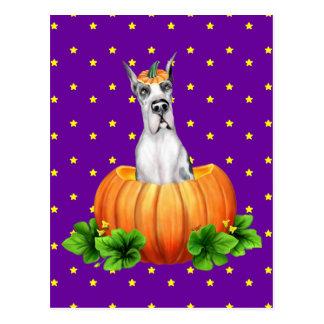 Great Dane Halloween Harlequin Dane-O-Lantern Postcard