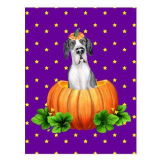 Great Dane Halloween Mantle UC Dane-O-Lantern Postcard