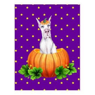 Great Dane Halloween White Dane-O-Lantern Postcard
