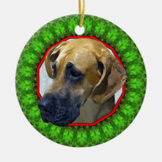 Great Dane Happy Howliday Ceramic Ornament