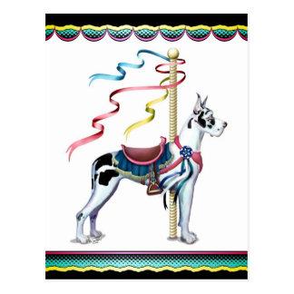 Great Dane Harlequin Carousel Postcard