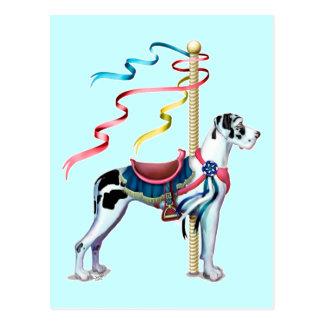 Great Dane Harlequin Carousel UC Postcard