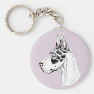 Great Dane Harlequin Feminine Basic Round Button Keychain