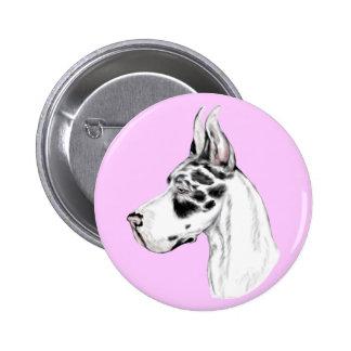 Great Dane Harlequin Feminine Pinback Button