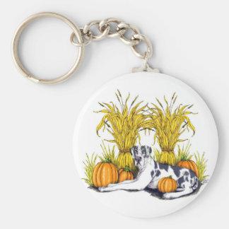 Great Dane Harlequin Harvest UC Basic Round Button Keychain