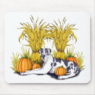 Great Dane Harlequin Harvest UC Mousepad