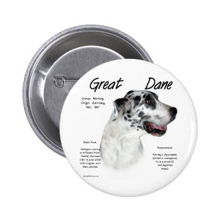 Great Dane (harlequin) History Design Pinback Buttons