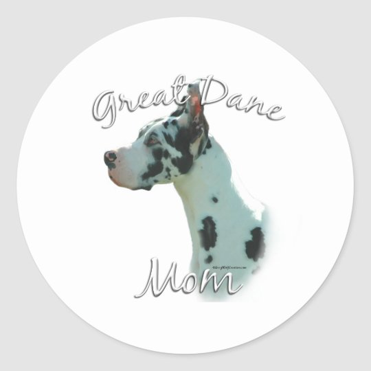 Great Dane (harlequin) Mom 2 Classic Round Sticker