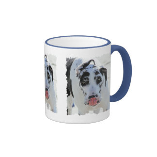 Great Dane - Harlequin - My Tongue Touches My Nose Ringer Coffee Mug