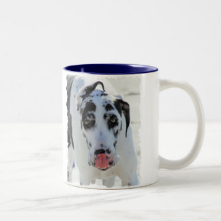 Great Dane - Harlequin - My Tongue Touches My Nose Two-Tone Coffee Mug
