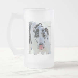 Great Dane - Harlequin - My Tongue Touches My Nose 16 Oz Frosted Glass Beer Mug