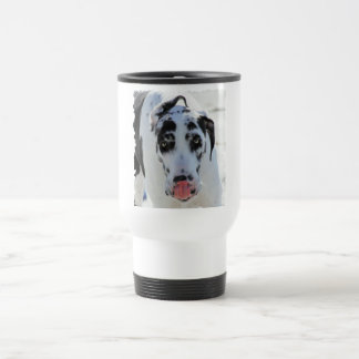 Great Dane - Harlequin - My Tongue Touches My Nose 15 Oz Stainless Steel Travel Mug