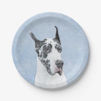 Great Dane (Harlequin) Painting - Original Dog Art Paper Plate
