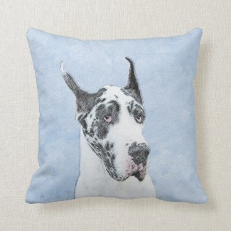 Great Dane (Harlequin) Throw Pillow