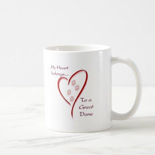 Great Dane Heart Belongs Classic White Coffee Mug
