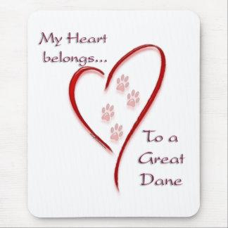 Great Dane Heart Belongs Mouse Pad