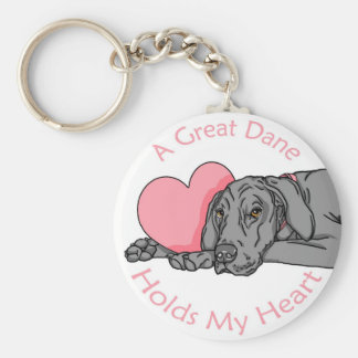 Great Dane Holds Heart Black UC Keychain