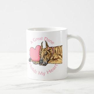 Great Dane Holds Heart Brindle Coffee Mug