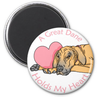 Great Dane Holds Heart Fawn UC 2 Inch Round Magnet
