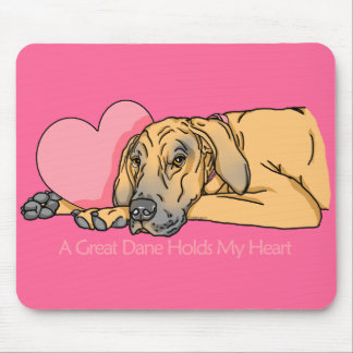 Great Dane Holds Heart Fawn UC Mouse Pad