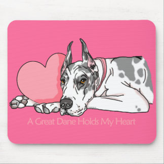 Great Dane Holds Heart Harlequin Mouse Pad