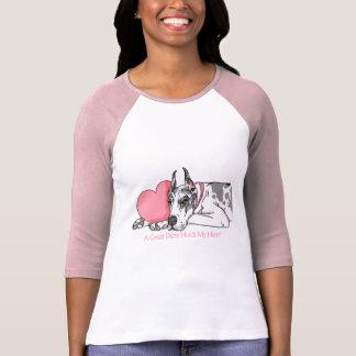 Great Dane Holds Heart Harlequin T-Shirt