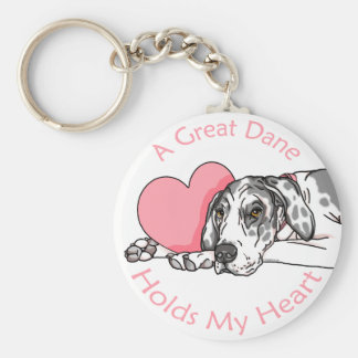 Great Dane Holds Heart Harlequin UC Key Chains