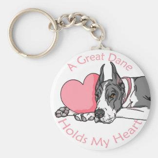 Great Dane Holds Heart Mantle Basic Round Button Keychain