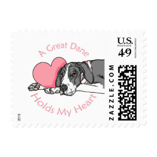 Great Dane Holds Heart Mantle UC Postage