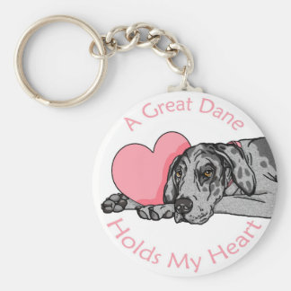 Great Dane Holds Heart Merle UC Basic Round Button Keychain