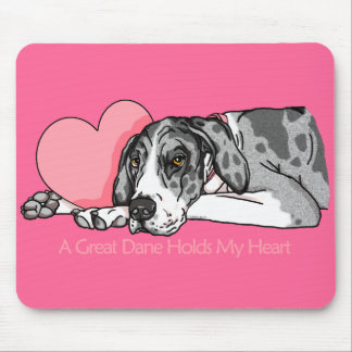 Great Dane Holds Heart MerleB UC Mouse Pad