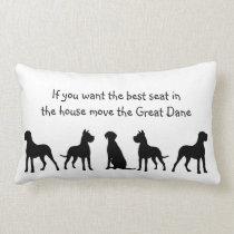 Great Dane Humor Best Seat in house Dog Pet Animal Lumbar Pillow