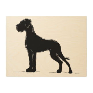 Great Dane in abstraction Wood Canvases