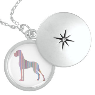 Great Dane in Pastel Colors Sterling Silver Necklace